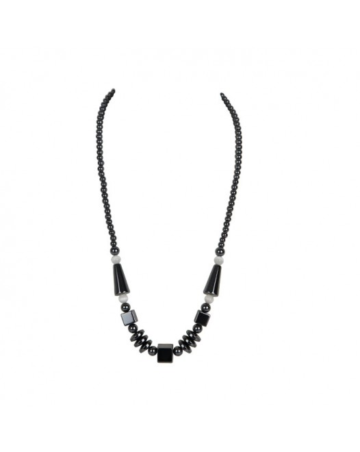 Different shape Black Beaded Necklace with Gift box
